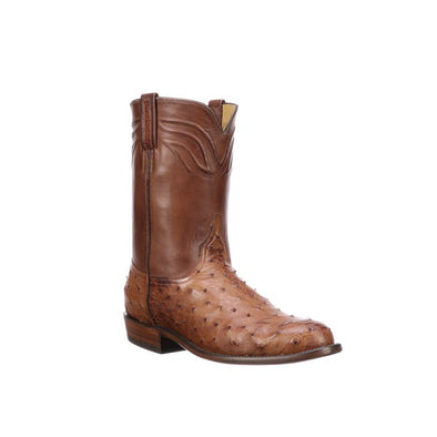 Men's Lucchese Augustus Full Quill Ostrich Roper Boots Handcrafted Barnwood - yeehawcowboy