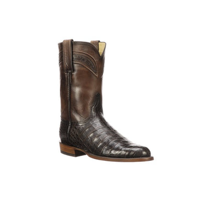 Men's Lucchese Wilson Caiman Belly Roper Boots Handcrafted Chocolate - yeehawcowboy