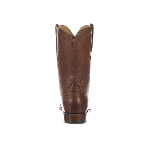 Men's Lucchese Original Bannock Leather Roper Boots Handcrafted Pecan - yeehawcowboy