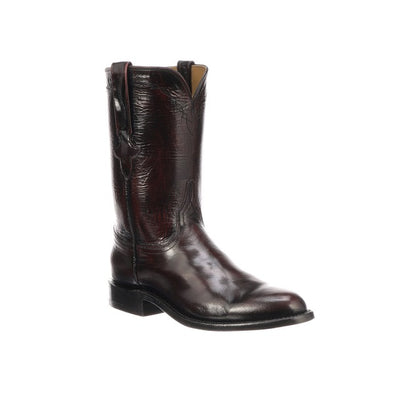 Men's Lucchese Bannock Goat Boots Handcrafted Black Cherry - yeehawcowboy