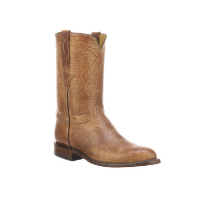 Men's Lucchese Tanner Mad Dog Goat Roper Boots Handcrafted Tan - yeehawcowboy