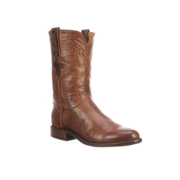 Men's Lucchese Tanner Mad Dog Goat Leather Boots Handcrafted Peanut Brittle - yeehawcowboy