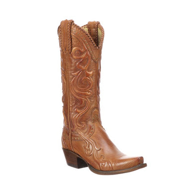 Women's Lucchese Saratoga Buffalo Boots Handcrafted Cognac - yeehawcowboy