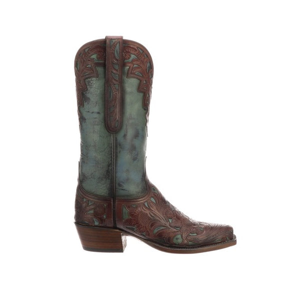 Women's Lucchese Alexa Leather Boots Handcrafted Chocolate - yeehawcowboy