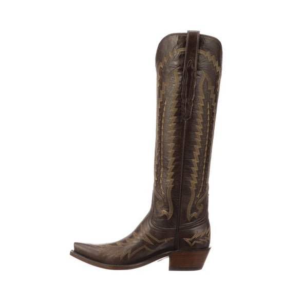 Women's Lucchese Priscilla Goat Boots Handcrafted Brown - yeehawcowboy
