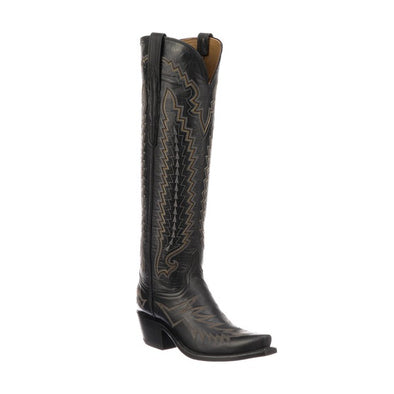 Women's Lucchese Priscilla Goat Boots Handcrafted Black - yeehawcowboy