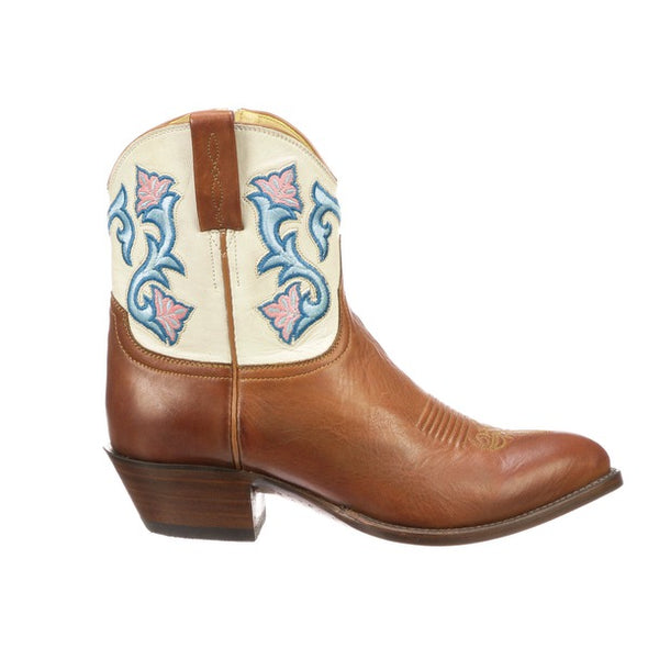 Women's Lucchese Dixie Leather Ankle Boots Handcrafted Cognac - yeehawcowboy