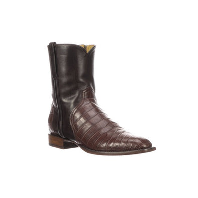 Men's Lucchese Elliott Nile Crocodile Boots Handcrafted Chocolate - yeehawcowboy