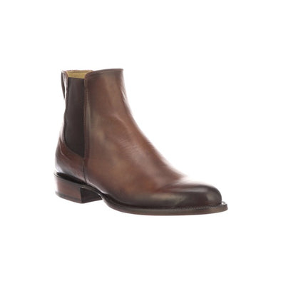 Men's Lucchese Grayson Leather Ankle Boots Handcrafted Dark Brown - yeehawcowboy