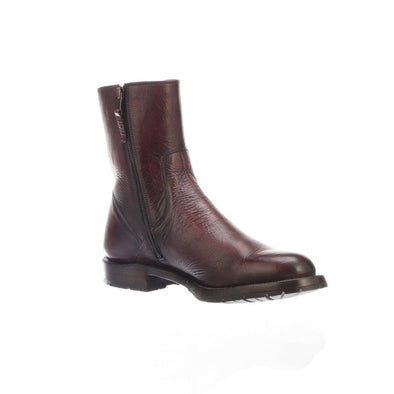 Men's Lucchese Jayden Leather Ankle Boots Handcrafted Black Cherry - yeehawcowboy