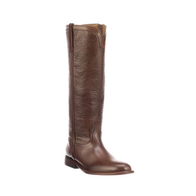 Women's Lucchese Francesca Leather Boots Handcrafted Mahogany - yeehawcowboy