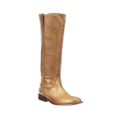 Women's Lucchese Francesca Leather Boots Handcrafted Golden Tan - yeehawcowboy