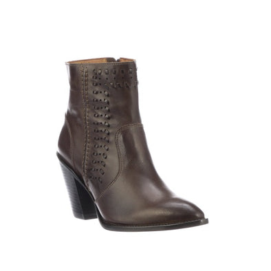 Women's Lucchese Piper Leather Ankle Boots Handcrafted Chocolate - yeehawcowboy