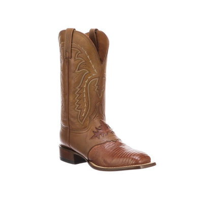 Men's Lucchese  Limited Release KD Lizard Boots Handcrafted Cognac - yeehawcowboy