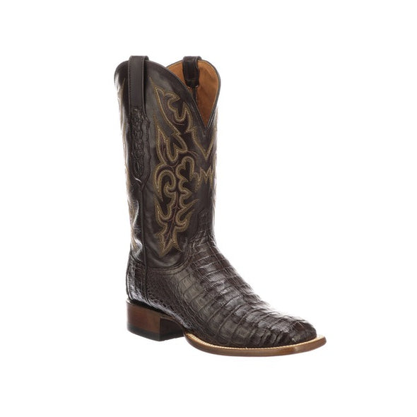 Men's Lucchese Limited Release Caiman Boots Handcrafted Chocolate - yeehawcowboy