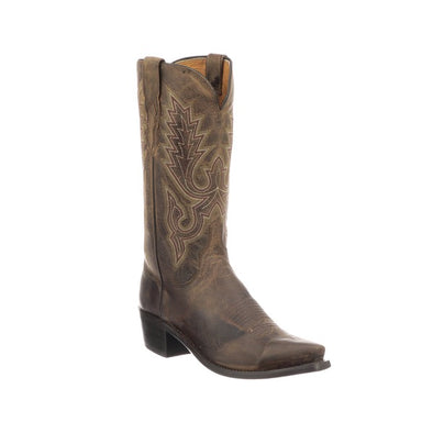 Men's Lucchese Lewis Goat Boots Handcrafted Chocolate - yeehawcowboy