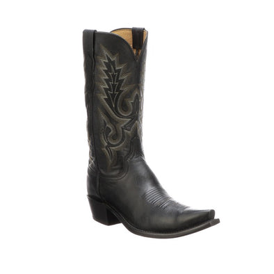 Men's Lucchese Lewis Goat Boots Handcrafted Black - yeehawcowboy