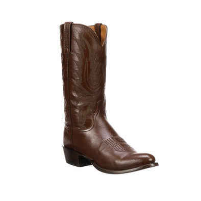 Men's Lucchese Carson Leather Boots Handcrafted Antique Brown - yeehawcowboy