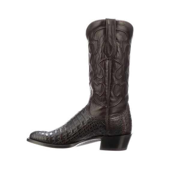 Men's Lucchese Charles Caiman Belly Boots Handcrafted Black Cherry - yeehawcowboy