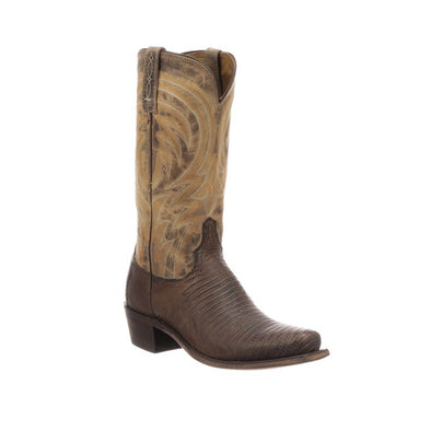 Men's Lucchese Percy Lizard Boots Handcrafted Antique Tan - yeehawcowboy