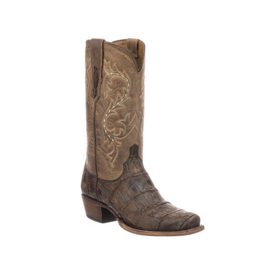 Men's Lucchese Burke Gaint Gator Boots Handcrafted Chocolate - yeehawcowboy