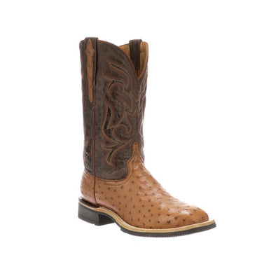 Men's Lucchese Rowdy Full Quill Ostrich Boots Handcrafted Cognac - yeehawcowboy