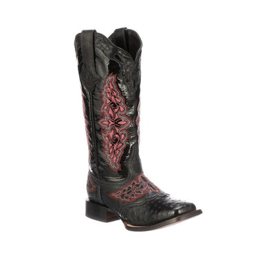 Women's Lucchese Amberlyn Full Quill Ostrich Boots Handcrafted Black - yeehawcowboy