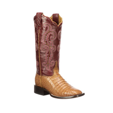 Women's Lucchese Annalyn Caiman Belly Boots Handcrafted Tan - yeehawcowboy