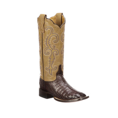Women's Lucchese Annalyn Caiman Belly Boots Handcrafted Café Brown - yeehawcowboy