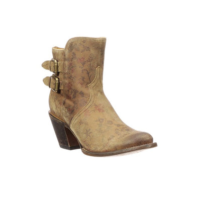 Women's Lucchese Catalina Leather Ankle Boots Handcrafted Brown Floral - yeehawcowboy
