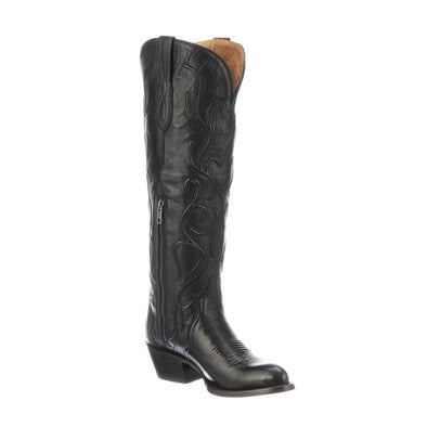 Women's Lucchese Ruth Leather Boots Handcrafted Black - yeehawcowboy