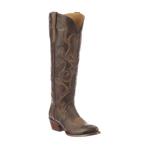 Women's Lucchese Peri Leather Boots Handcrafted Chocolate - yeehawcowboy