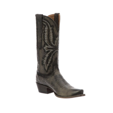 Women's Lucchese Marcella Leather Boots Handcrafted Anthracite Grey - yeehawcowboy