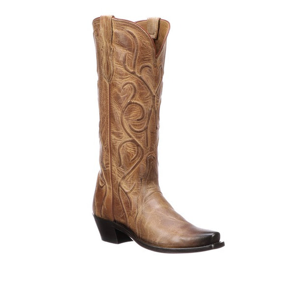 Women's Lucchese Patsy Mad Dog Goat Boots Handcrafted Tan - yeehawcowboy