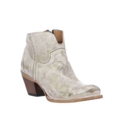 Women's Lucchese Ericka Leather Ankle Boots Handcrafted White - yeehawcowboy