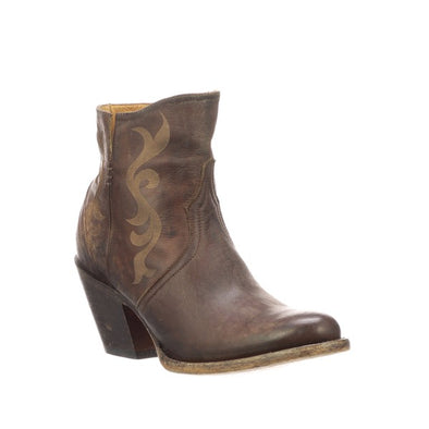 Women's Lucchese Alondra Leather Ankle Boots Handcrafted Chocolate - yeehawcowboy