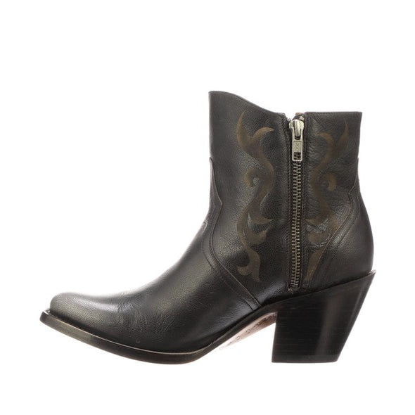 Women's Lucchese Alondra Leather Ankle Boots Handcrafted Black - yeehawcowboy