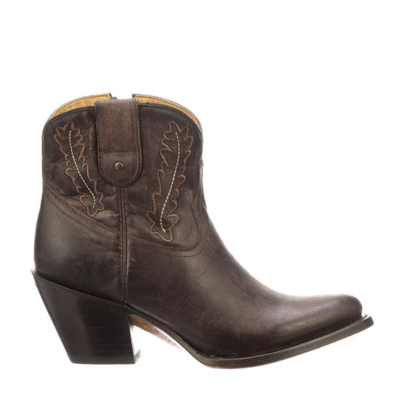 Women's Lucchese Wing Leather Ankle Boots Handcrafted Tobacco - yeehawcowboy