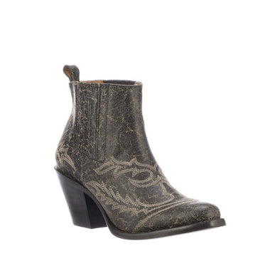 Women's Lucchese Rogue Leather Ankle Boots Handcrafted Anthracite Grey - yeehawcowboy