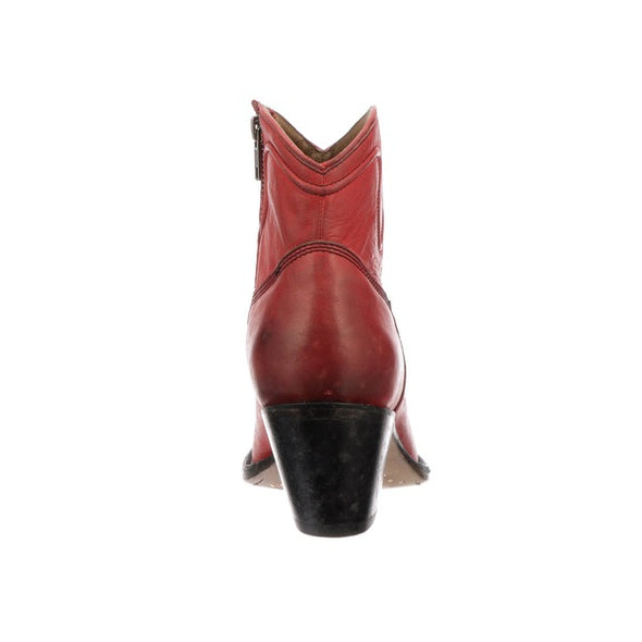 Women's Lucchese Gwen Leather Ankle Boots Handcrafted Red - yeehawcowboy