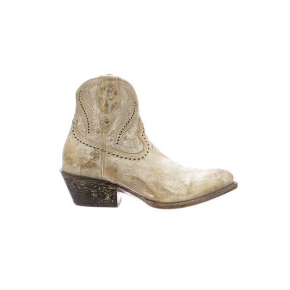 Women's Lucchese Sabine Leather Ankle Boots Handcrafted Bone - yeehawcowboy