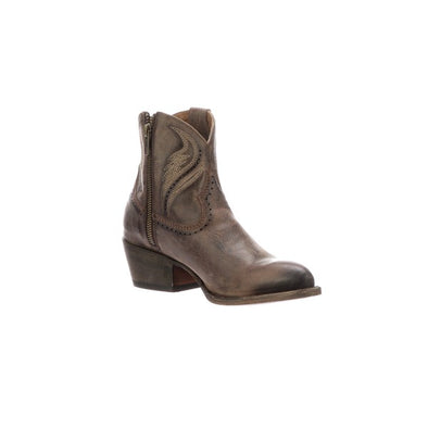 Women's Lucchese Sabine Leather Ankle Boots Handcrafted Brown - yeehawcowboy