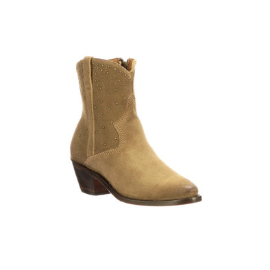 Women's Lucchese Avie Stud Suede Ankle Boots Handcrafted Tan - yeehawcowboy
