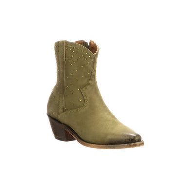 Women's Lucchese Avie Stud Suede Ankle Boots Handcrafted Sage - yeehawcowboy