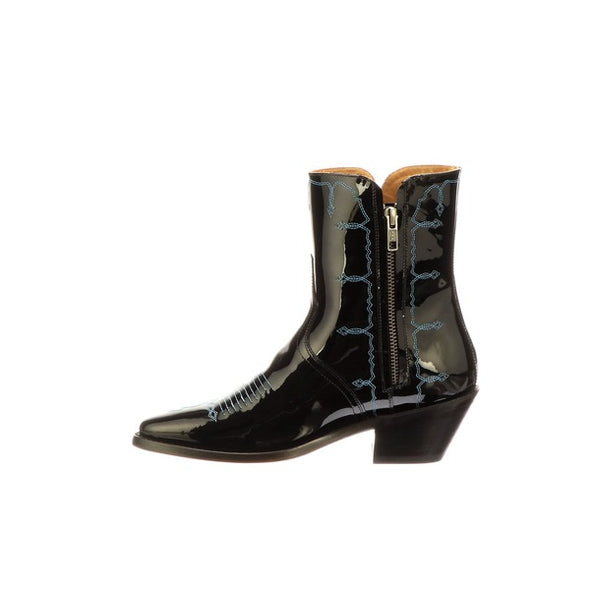 Women's Lucchese Mila Ankle Leather Boots Handcrafted Black - yeehawcowboy