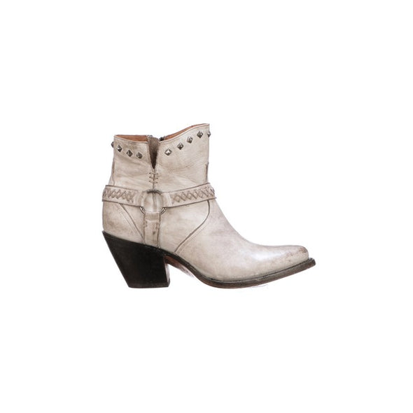 Women's Lucchese Ani Leather Ankle Boots Handcrafted White - yeehawcowboy