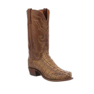 Men's Lucchese Franklin Hornback Caiman Tail Boots Handcrafted Tan - yeehawcowboy