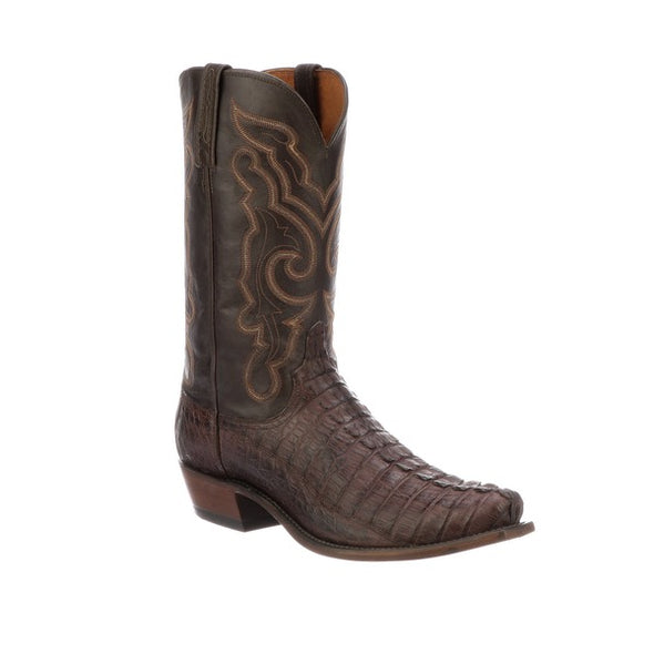 Men's Lucchese Franklin Hornback Caiman Tail Boots Handcrafted Barrel Brown - yeehawcowboy