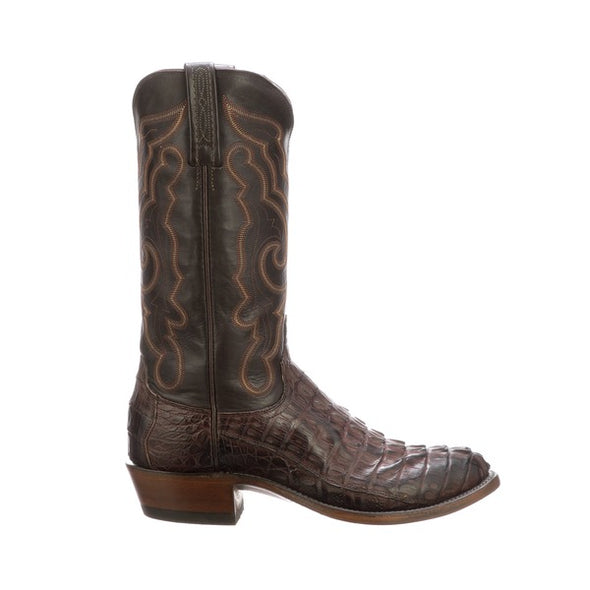 Men's Lucchese Franklin Hornback Caiman Tail Boots Handcrafted Black Cherry - yeehawcowboy