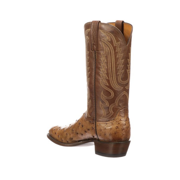 Men's Lucchese Luke Full Quill Ostrich Boots Handcrafted Barnwood - yeehawcowboy